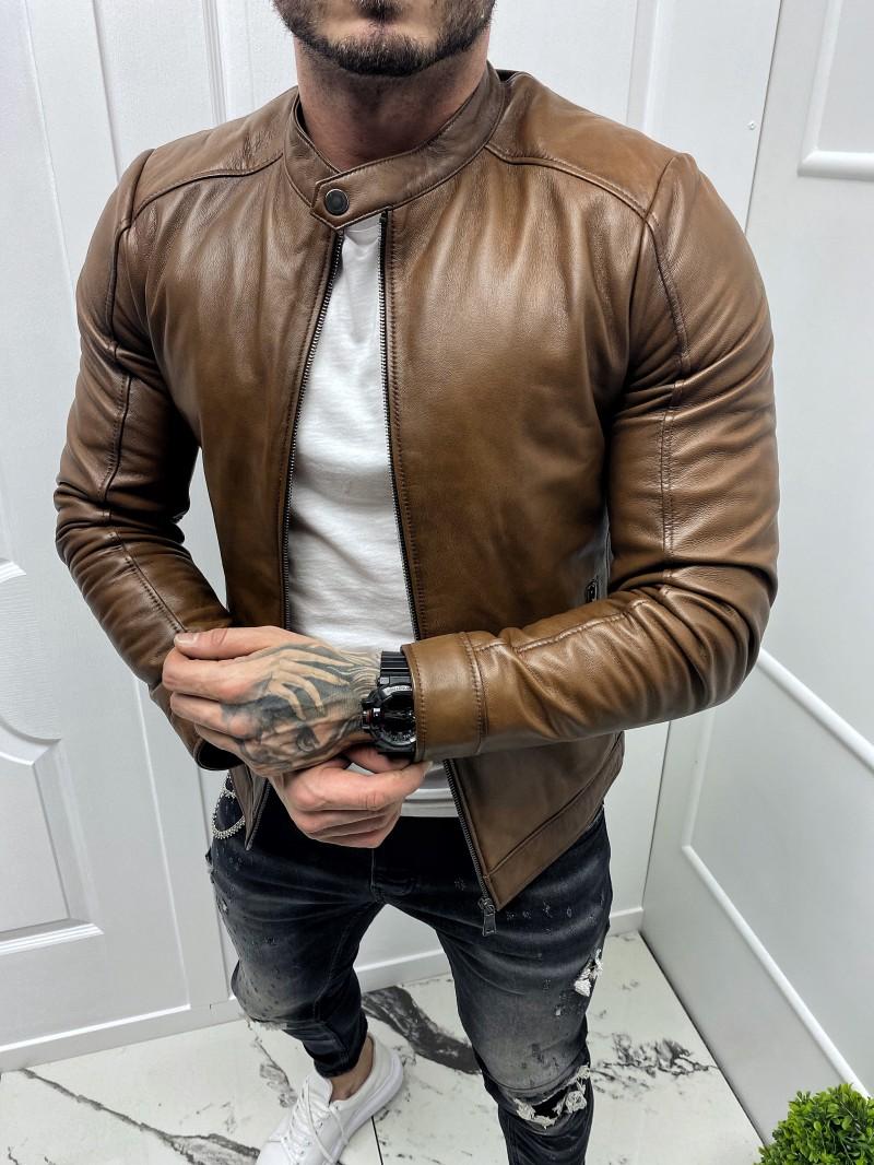 Мъжко изчистено яке от естествена агнешка кожа (MLM-0004)