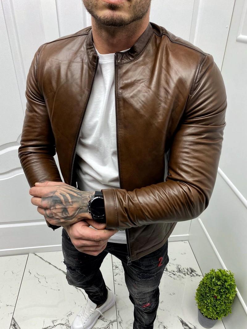 Мъжко кожено яке втален изчистен модел (MLM-0005)