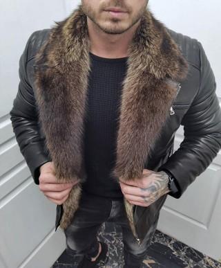 Мъжко яке от естествена кожа с яка от вълк (MLM-0013)