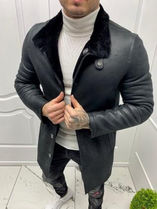 Мъжко черно яке от естествена кожа (MLM-0020)