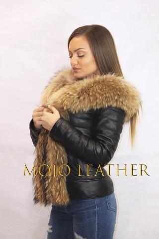 Дамско кожено яке с качулка от лисица (MLW-0024)