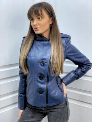 Дамско кожено яке с качулка от естествена кожа (MLW-0102)