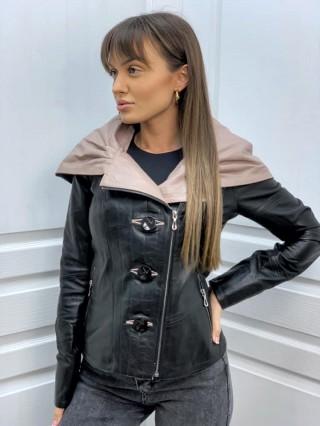Дамско кожено яке с качулка от естествена кожа (MLW-0101)