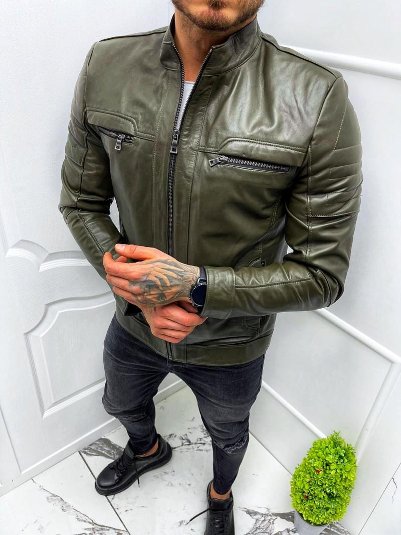 Мъжко спортно яке от естествена агнешка кожа (MLM-0080)